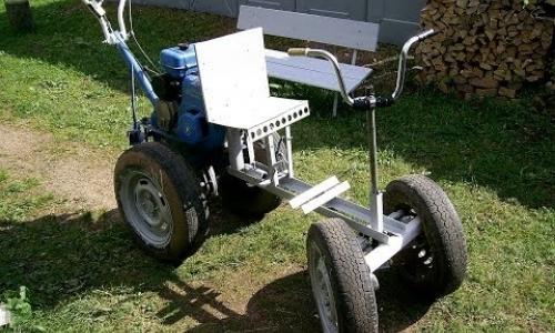 Мотоблок с самодельным посадочно-рулевым комплексом